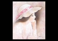 woman in hat resting her chin on her hands by osamu nakahara
