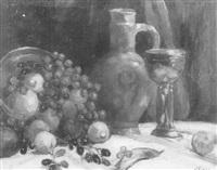 stilleben mit obst und steinzeugkrug by wilhelm runze