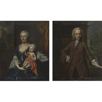 portrait of a man (+ portrait of a woman holding a child; pair) by mattheus verheyden