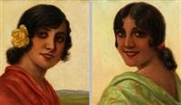 pareja de retratos femeninos (pair) by francisco sans castaño