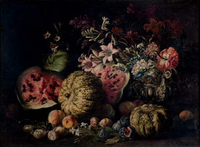 zucche angurie pere fichi altri frutti e fiori in un vaso di peltro su un piano by abraham brueghel
