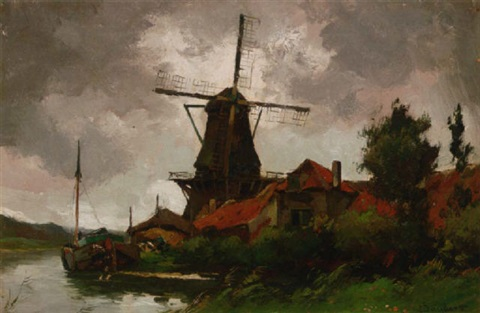 a barge moored by a windmill on a dutch waterway by chris snijders