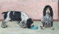 portrait of a pair of cocker spaniels by august torsleff