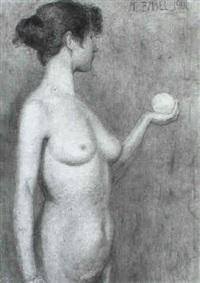 weiblicher akt, eine kugel haltend by alfred basel