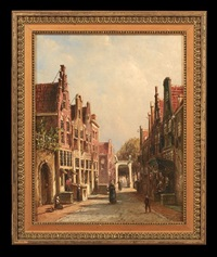 busy dutch street scene by pieter gerardus vertin