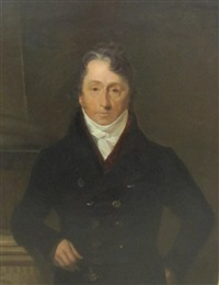 portrait of john becher (1766-1830), of chancellor house, tunbridge wells, tunbridge wells, half length, in a black coat, red waistcoat and white stock, resting his arm on a plinth by henry william pickersgill