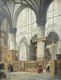 the interior of a church in the netherlands by jan jacob schenkel and e.f. rikkers