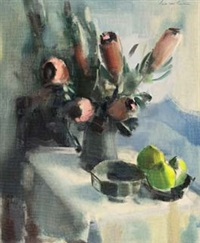 still life of proteas and pears by louis van heerden