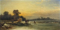 a fisherman and his family by a frozen river, a windmill beyond by george vicat cole