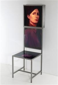 stuhl mit lichtkasten und foto-objekt (in 3 parts) by irene andessner