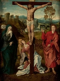 cristo en la cruz by master of the antwerp adoration