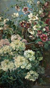 prachtvolles stilleben mit malven und hortensien by clara elisabeth fischer