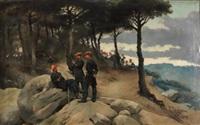 soldados carlistas en un paisaje by josep (josé) cusachs y cusachs