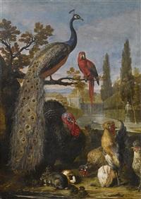 erlegtes wild bewacht von hunden in einer waldlandschaft; ein pfau, ein papagei, truthahn, hähne, hasen und ein meerschweinchen in einer parklandschaft (pair) by david de coninck