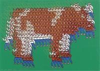 die milk-brothers melken eine kuh. aus lasso schwingenden cowboys zusammengesetzte figur by thomas bayrle