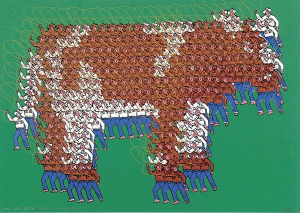 die milk brothers melken eine kuh aus lasso schwingenden cowboys zusammengesetzte figur by thomas bayrle