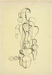 figurenplan k 1 (konzentrische gruppe) (2 works) by oskar schlemmer
