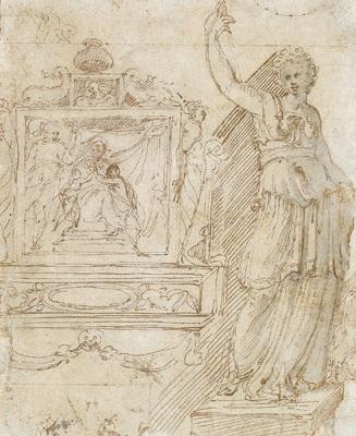 altarentwurf mit der heiligen familie und johannes dem täufer rechts eine stehende allegorische figur study by perino del vaga