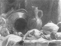 stilleben mit geflügel und steinzeugkrug by wilhelm runze