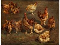 hühner und hähne (study) by louis (ludwig) reinhardt