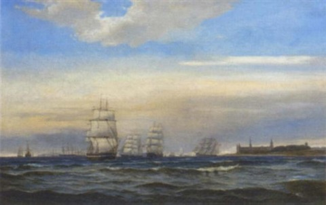 congested shipping lanes off kronborg castle denmark by edvard skari
