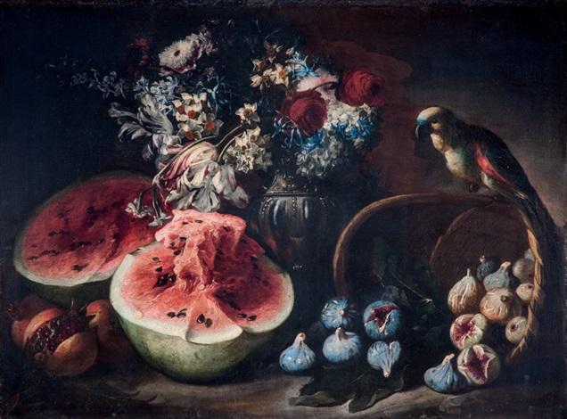 angurie e melograni su un tavolo di legno un vaso con tulipani narcisi e altri fiori e un pappagallo su un cestino rovesciato con fichi by abraham brueghel
