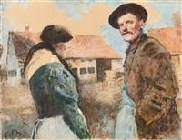 Bauernpaar vor Hof