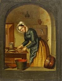a woman preparing fish by jan hendrik van grootvelt