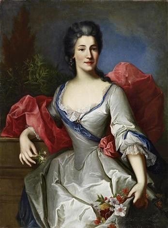 porträt einer hofdame im seidenen kleid mit blumen in der hand by johann rudolf daelliker