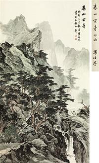 春山古寺 立轴 纸本 by liang boyu
