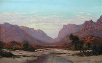 south african scene with mountains by marthinus johannes (tinus) de jongh