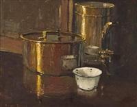 still life with brass pots by adriaan hendrik boshoff