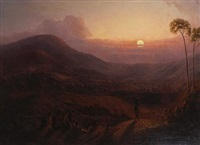 figures in a landscape at sunset by colonial school