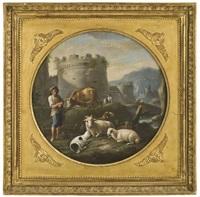 zwei campagnalandschaften mit hirten und vieh (pair) by paolo monaldi