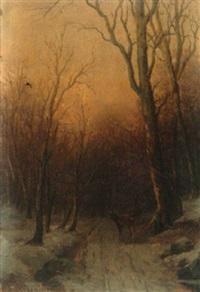 abendstimmung über verschneitem waldweg mit rehwild by richard fresenius