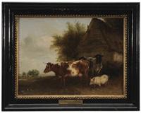 cows and a pig in a farmyard by edmund bristow