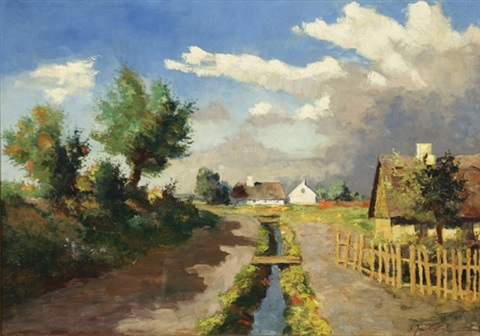 landscape with country road and village summer by frederick wilhelm jacobsen