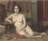 a seated female nude in an interior beside a bowl of apples by charles-jean agard