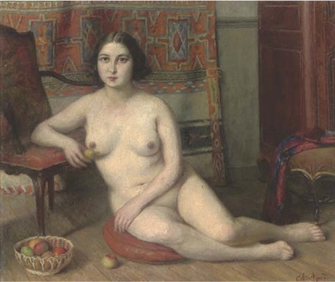 a seated female nude in an interior beside a bowl of apples by charles jean agard