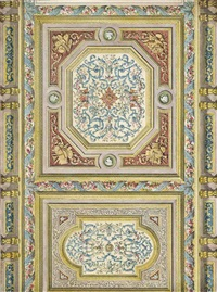 ceiling design with blue grotesques; a large and elaborate ceiling design in yellow (2 works) by edmond collignon