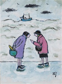 ladies chatting by the sea by joan gillchrest