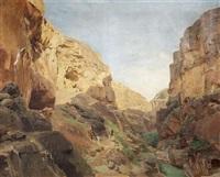 blick in das flusstal wadi kelt (wadi qilt), das durch die judäischen berge nach jericho hineinführt by gustav bauernfeind