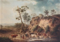 peasants with cattle in an open landscape by henri-joseph antonissen