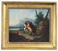 drei jagdhunde greifen einen braunbären an, ein vierter setzt zum sprung an by leopold axtmann