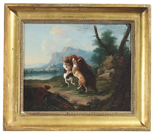 drei jagdhunde greifen einen braunbären an ein vierter setzt zum sprung an by leopold axtmann