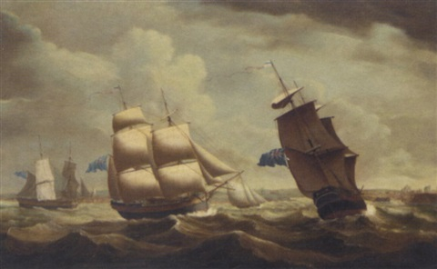 "the brig ""ceres"" in three positions, off the entrance to whitehaven by john askew"