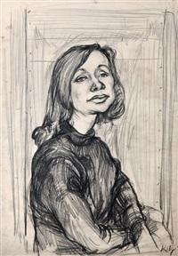 portrait einer sitzenden, jungen frau by karl hubbuch