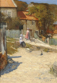 figures before the artist's cottage, runswick bay by mark senior