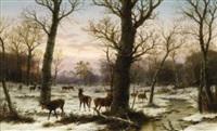 winterwald mit rotwild in der dämmerung by caesar bimmermann