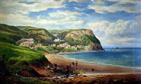 a view of runswick bay, fisherfolk and the rolling countryside beyond by george alexander